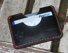 Handmade PARVUS Minimalist Wallet Black Red Chromexcel Leather Money Band