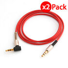 2x 3.5mm Male to M Aux Cable Cord L-Shaped Right Angle Car Audio Headphone Jack