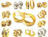 Gold Silver Crystal Huggie Ear Stud Hoops Earrings Jewelry Mens Womens