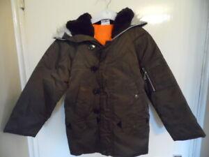 Boys Brown ,hooded, long sleeve, snorkle coat size 24