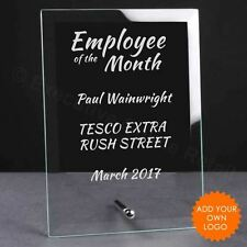 Personalised Employee of the Month Glass Plaque Trophy Award - Work Trophies