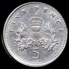 More details for elizabeth ii. royal mint error 5p, 1990. struck off centre, slipped collar.