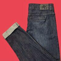 BCBG  Gavin .. Cuffed Ankle 2 Button Waist Denim Blue Jeans .. Size 29 ( 7 / 8 )