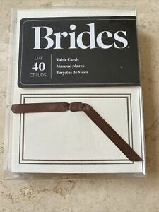 Gartner www.Brides.com Ivory Table cards 40 with 40 brown ribbons New