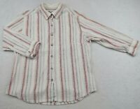 Columbia Womens Stretch Textured Cotton 3/4 Sleeve Button Down Striped Shirt M