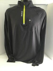 Reebok Long Sleeve 1/4 Front Zip Charcoal Men's Activewear Jacket Size Large