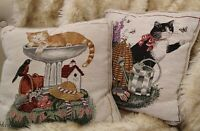 "set 2 Adrienne Samuelson Cat Decorative Throw Tapestry Pillows garden 12x12"""