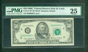 FR#2117-H* 1969-C $50 RARE ST. LOUIS MEGA LOW SERIAL STAR NOTE PMG VERY FINE 25!
