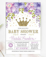 Princess Baby Shower Invitation Purple Gold Crown Star Floral Royal Party Invite