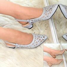 Womens Low Heel Party Shoes Rhinestone Sparkly Slingback Pointy toe Evening Size