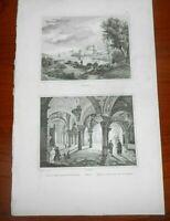 1837 INCISIONE AUDOT BRINDISI + BARI SOTTERRANEI CHIESA DI SAN NICOLA PUGLIA