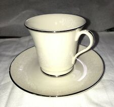 Gorham Fine China Cup and Saucer - Bridal Bouquet Pattern with Platinum Trim