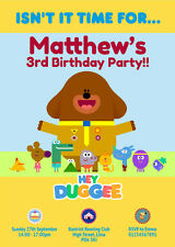 HEY DUGGEE - 10 personalised birthday invitations including envelope