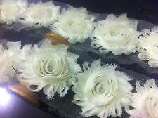 Flower Lace Trim - Frayed Chiffon Rose - Shabby Chic Bridal Flowers 1 YARD &more