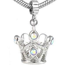 20pcs Crystal Queen Crown Silver Dangle European Bracelet Charm Beads D588