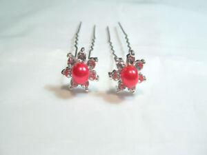 5 x Diamante / Glass Pearl  Hair Pins : DPP02 Red
