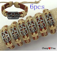 wholesale lots 6 pcs Cool CROSS sign ox  Genuine Leather cool Bracelet for gift