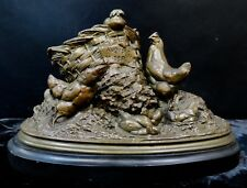 Vintage French Bronze w/ Hens & Chickens by Cain