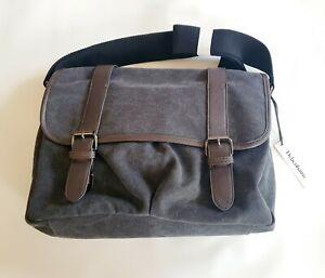 BMWT MEN'S Debenhams Grey Canvas Messenger Satchel Crossbody Bag new RRP £30