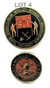2 NUM Miners Badge Strike Mining 1980's Woolley Branch Lot 4