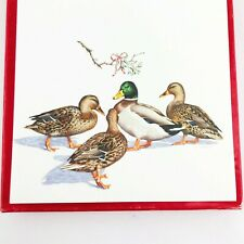 Ducks Unlimited Christmas Holiday Cards Set of 15 Mistletoe & Mallards 1987 Vtg