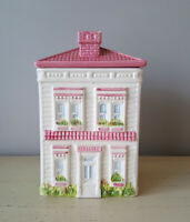 Genuine Weiss Ceramic Pink & White Victorian House Cookie Jar w/ Trees