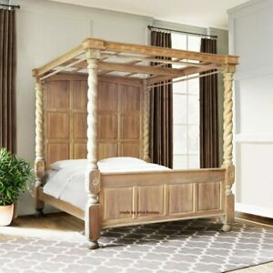 "USA King Size 76""x80"" Twisted Column Oak Wood  Tudor Four Poster canopy Bed"