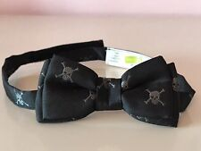 Crazy 8 Little Boys Black Skull And Bones Pirates Punk Rock Bow Tie Sz 2t - 5t