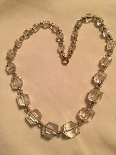 """Clear Cut Glass Bead Necklace True Vintage By Simmons 17"""""""