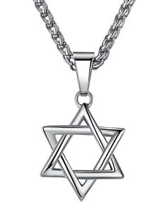 Stainless Steel Unisex Jewish Star of David Pendant Necklace
