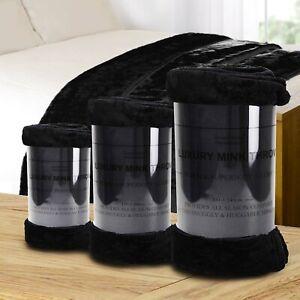Soft Mink Faux Throw Black Luxury Large Fur Fleece Sofa Blanket Bedding Warm Bed