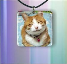 "CAT HAPPY SMILING  ORANGE TIGER & WHITE  1 "" GLASS PENDANT NECKLACE"