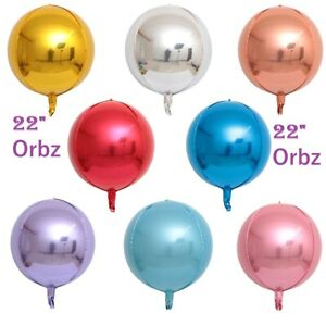 """Orbz Balloons 22"""" Sphere Pink Blue Silver Gold Rosegold Orb HELIUM Foil Balloons"""