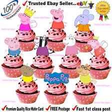 For Peppa Pig & Friends STAND UPS Fairy Cup Cake Toppers Edible Rice Paper Card