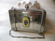 Antique Art Deco Silver T Yellow Guilloche Lavender Floral Engine Turned Compact