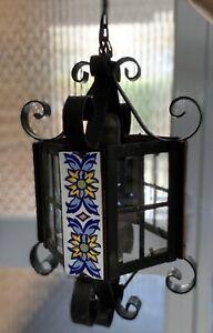 Vintage Lantern Ceiling Light Ceramic Tiled Pendant Lamp Retro 1970s Dutch Old