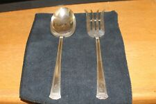 "International Silver Pantheon Salad Serving Set Monogrammed ""HE"""