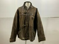 VINTAGE 70's DISTRESSED HEAVY LEATHER DUFFLE COAT JACKET SIZE XL ACE PATINA