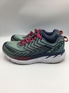 Hoka One One Womens Clifton 4 Road Running Shoes Blue 1016780 Lace Up 8.5 W