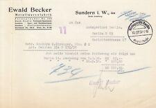 SUNDERN, Brief 1938, Ewald Becker Metallwaren-Fabrik