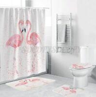 4Pcs/Set Flamingo Waterproof Shower Curtain Toilet Lid Cover Bathroom Mat Rug US