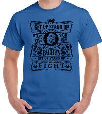 Bob Marley T-Shirt Get Up Stand up Mens Inspired Reggae Jamaica Spliff Weed