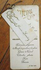 MENU - French 1920 Menu & Name Card: Mouse de Jambon a la Glace, Gateau Nuptial