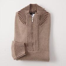 NWT $2595 KITON Light Brown Thick Regal Cashmere Sweater XXL (Eu 58) Half-Zip