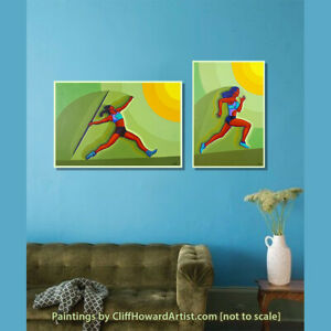 A pair of paintings [diptych] of stylised Olympian athletes.