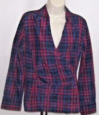 Talbots Womens Top Size 12 Long Sleeve Fitted Jewel Tones Raspberry Blue Tartan