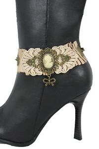 Women Antique Gold Metal Chain Boot Bracelet Shoe Charm Anklet Vintage Punk Lace