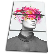 Flower Female Abstract Pink Fashion TREBLE CANVAS WALL ART Picture Print