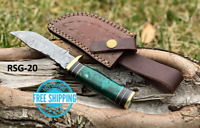 Custom HAND FORGED DAMASCUS STEEL Knife Dark Green Resin & Brass Guard Handle