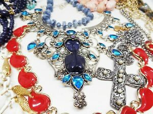VINTAGE NECKLACE LOT-LISNER,TORTOLANI,COVENTRY,CAVINESS,.925,JAPAN,MORE!